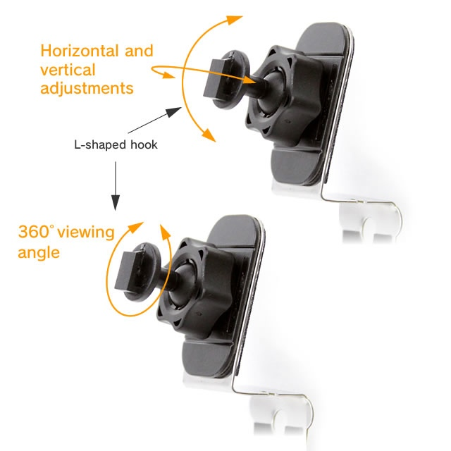 Viewing angel is adjustable with a 360 degree turn ball joint.